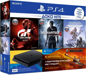Sony Playstation 4 Slim 500Gb + Horizon Zero Dawn + Gran Turismo Sport + Uncharted 4 + PS Plus 3m + World Of Tanks