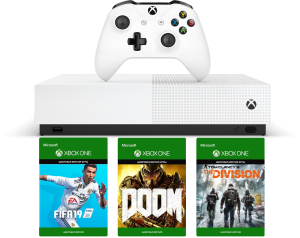 Microsoft Xbox One S 1Tb All-Digital Edition + FIFA 19 + The Division + Doom