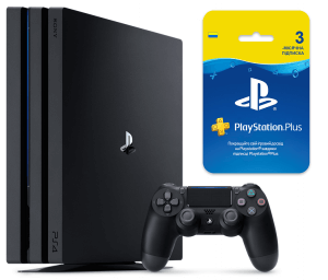 Sony Playstation 4 PRO 1Tb + Playstation Plus 3-месячная подписка