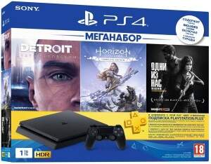 Sony Playstation 4 Slim 1Tb + Horizon Zero Dawn. Complete Edition + Detroit + The Last of Us + PS Plus 3М