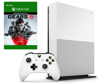 microsoft xbox one s 1tb all-digital edition + gears 5 deluxe фото