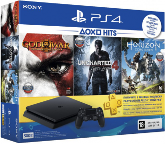 sony playstation 4 slim 500gb + horizon zero dawn + god of war iii + uncharted 4 + ps plus 3 месяца фото