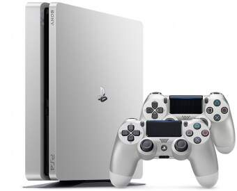 sony playstation 4 slim 500gb (silver) + dualshock 4 (silver) фото