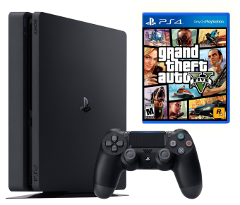 sony playstation 4 slim 500gb + gta 5: grand theft auto v фото