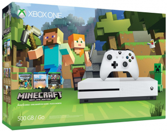 microsoft xbox one s 500gb + minecraft фото