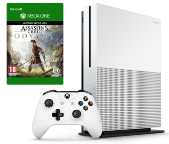microsoft xbox one s 1tb + assassin's creed odyssey фото