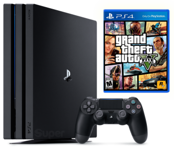 sony playstation 4 pro 1tb + gta 5: grand theft auto v фото